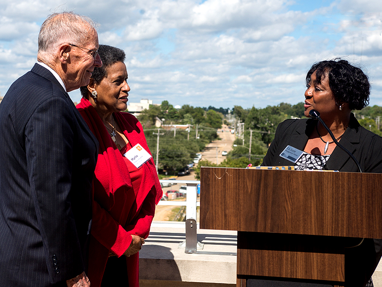 WKKF President and CEO La June Montgomery Tabron presents former Gov. William Winter and Myrlie Evers with a $2.3 million endowment for the Mississippi Civil Rights Museum.